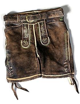 Qstall-Lederhose von Strizi, kurz inkl. Hosenträger, Herren, sämisch/biologisch gegerbtes Wildbockleder, used...