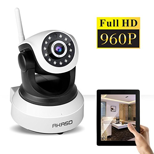 AKASO Wireless IP camera Wifi Security Home Monitoring 1280 x 960 Surveillance Webcam, Pan/Tilt, Motion Detection, 2 way Audio, SD Card Slot, Night Vision, Remote View ( IP13M-903)