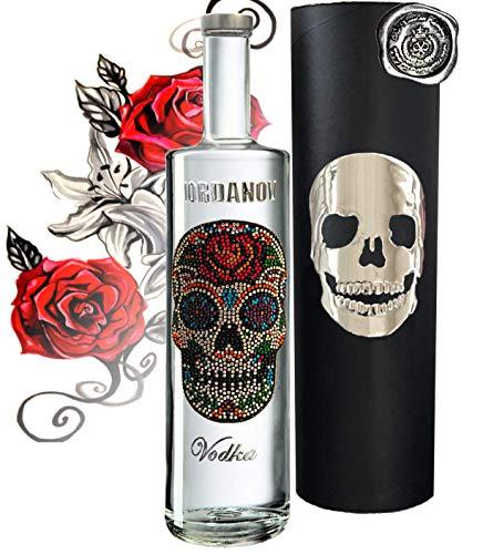 100{eff443ac264b32726f3ad7dc46c47e2f19cf05af62f8bd8ad4b0133f7e2b16d3} Vodka Geschenkset Flower Skull Luxus-Wodka Iordanov im Geschenk Chrome für Männer