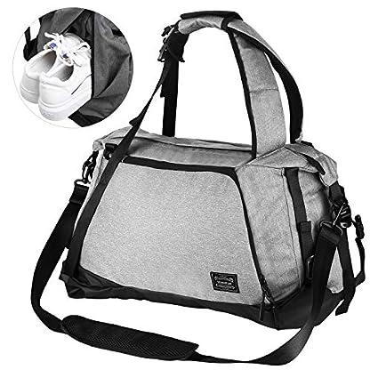 Lifeasy-Herren-Sporttasche-Reisetasche-mit-Schuhfach-35-Liter-wasserdichte-Tasche-3-in-1-Sportrucksack-Weekend-Reiserucksack-Canvas-Handgepck-Weekender-fr-Damen-und-Herren-Schwarz-Grau-0