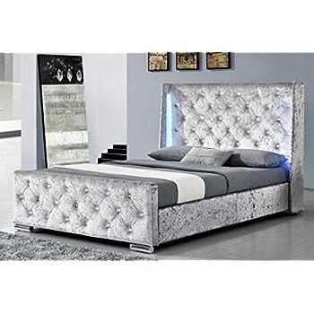 Silver Crushed Velvet Upholstered Designer Bed Frame 5ft ...