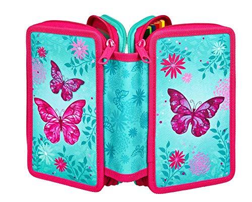 Undercover Scooli Butterfly Triple Decker 3-Fach gefüllt Federtasche Schüleretui Federmappe