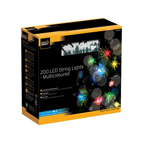 Cole&Bright L24204, Solar 200er - LED - Lichterkette - bunt. Dual-Power Technologie, Plastik, Green, 1493 x 1 x 1 cm