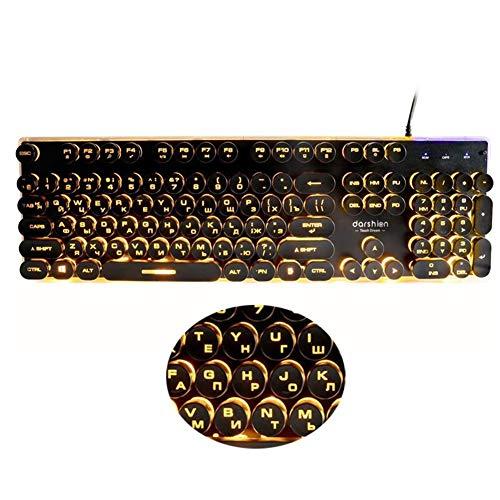 Daqin Steampunk Retro Gaming Keyboard Diseño Ruso/Inglés