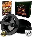 Le Flair XXL Burgerpresse-Set 4 in 1 -NEUES Modell 2019- mit E-Book | Burger Pattie Presse für Hamburger ideales Grill-zubehör BBQ mit Backpapier Patty Maker Burger zum Grillen | Deutsche Marke