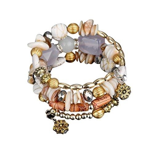 TAOtTAO 1 STÜCK BD New Fashion Exotischen Nationalen Geschmack Meltilayer Farbigen Stein Armband (Weiß) (Alex Und Ani Armreifen Infinity)
