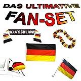 MEGA Deutschland WM Weltmeisterschaft 2018 Fussball-Fan-Set Fahne, Hawai-Kette, Schal und Socke, Hochwertiges Material, Komplett-Set