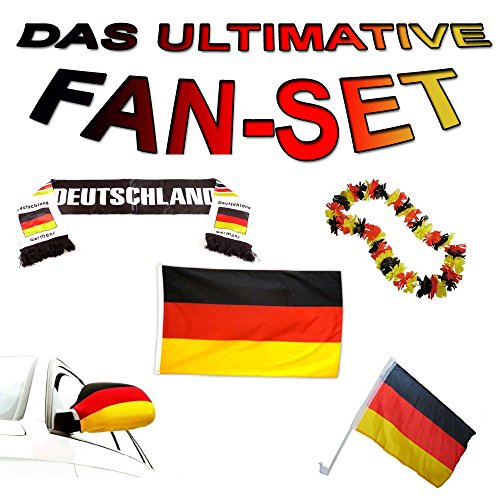 MEGA Deutschland WM Weltmeisterschaft 2018 Fussball-Fan-Set Fahne, Hawai-Kette, Schal und Socke, Komplett-Set