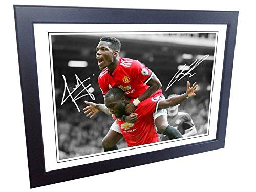 Kicks Signiert 12x 8schwarz Fußball Romelu Lukaku Paul Pogba Manchester United Autogrammkarte Foto Bilderrahmen Geschenk A4