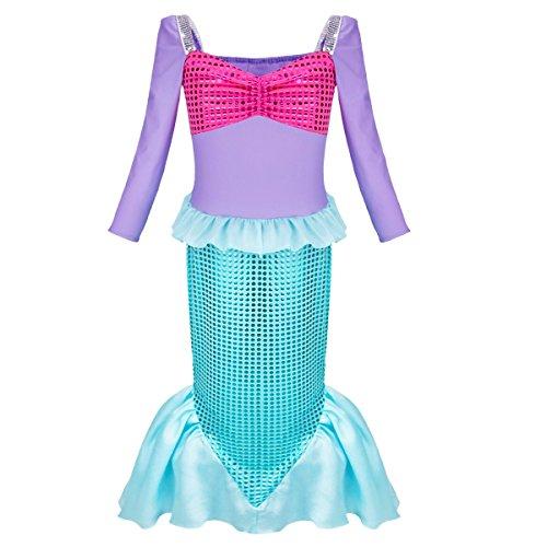 Tiaobug Meerjungfrau Kostüm Mädchen Kinder Meerjungfrauen Kinderkostüm Karneval Fasching Kostüm 98-152 Blau Blau ()