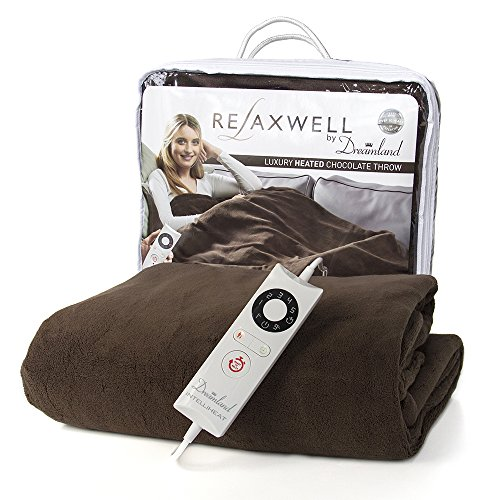 Dreamland's Luxury Super Soft Washable Chocolate Microfleece Electric Large Throw (150cm x 90cm) – Rapidly Heats Up In Only 5 Minutes
