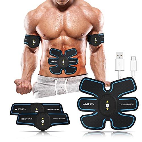 Muskelstimulation, EMS Training Muskelstimulator, Elektronische Bauch Muskeltraining Maschine, Bauchmuskeltrainer Fitness Geräte, Smart Wearable Zuhause Muskeln Trainer Für Männer Frauen Gewicht Abnehmen (Blue)
