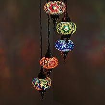 Impresionante Lámpara Colgante De Mosaico Turco, Lámpara Colgante Estilo Candelabro En Hélice De Mosaico Multicolor Turco Estilo Marroquí Hecha A Mano Con 5 Globos Tamaño Grande.