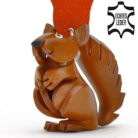 Eichhörnchen Ernie - kleiner Eichhörnchen Schlüssel-Anhänger aus Leder, eine tolle Geschenk-Idee für Frauen und Männer im Wildtier-Zubehör, Nagetier, Eichkätzchen, Eichkater, Eichhorn (Braun), A-Hörnchen und B-Hörnchen, Chipmunks, Hammy, Nusper, Puschel, Pips, Ratatöskr, Sandy Cheeks, Scrat & Scratte, Skippy & Slappy, Chip & (Laterne Weihnachtsschmuck)