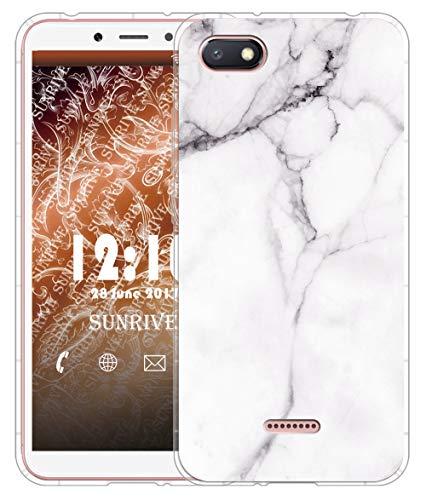 Sunrive Funda para Xiaomi Redmi 6A, Silicona Slim Fit Gel Transparente Carcasa Case Bumper de Impactos y Anti-Arañazos Cojín de Aire Espalda Cover(TPU Mármol Blanco)