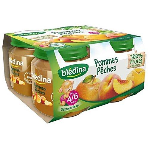 Blédina pots pomme peche 4x130g des 4/6 mois - ( Prix Unitaire ) - Envoi Rapide Et Soignée