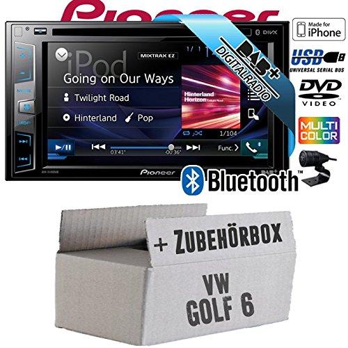 VW Golf 6 VI - Pioneer AVH-X490DAB - DAB+   DVD   USB  2DIN   Bluetooth   Autoradio - Einbauset