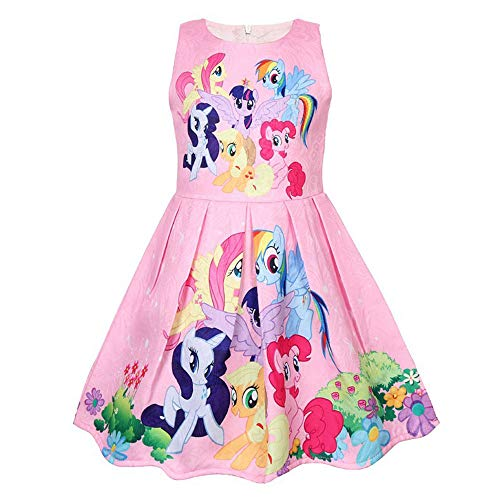 Mein Kleines Kostüm Pony - QYS Mein kleines Pony Kostüm Mädchen Cartoon Childs Kinderkostüm Outfi,pink,110cm