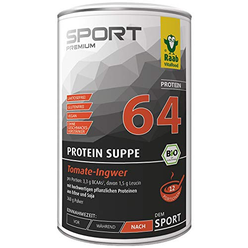 Raab Vitalfood Protein-Suppe Tomate-Ingwer, herzhafte Alternative zu Protein-Shakes, Eiweiß-Drink, vegan, nach dem Training, Fitness, laborgeprüft, 360 g