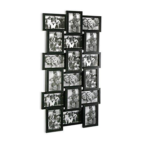 Versa 20810020 Portafotos Multiple 18 Negro, 85x4x44cm, Madera, Marco Fotos