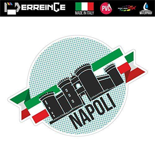 erreinge Sticker Napoli Italia Souvenir Adesivo Sagomato in PVC per Decalcomania Parete Murale Auto Moto Casco Camper Laptop - cm 10