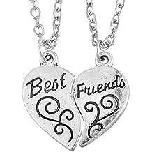 MJARTORIA Femme Bijoux Collier Chaine Amitie Pendentif Forme Coeur Lettres Best Friends Buds pour Meilleur Ami Lot de 2pcs