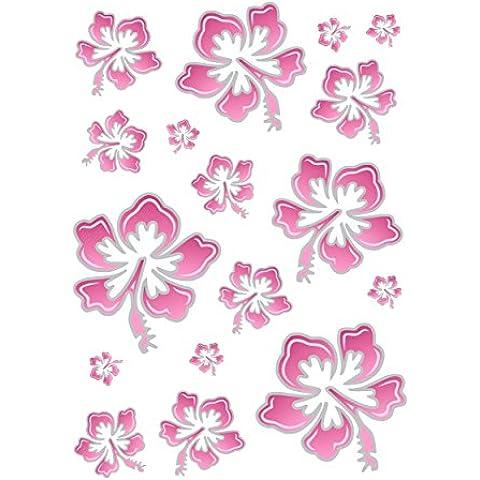 Carstyling Xxl, Hibiscus Fiore Set, Adesivi Per Auto, 300 X 200 Mm, Rosa