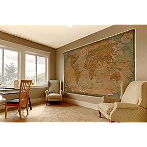 GREAT ART XXL Póster – Mapa Histórico del Mundo – Mural Globo Vintage Antiguo Mapa del Mundo Usado Mirar Atlas Mapa Decoración De Cartel De Pared De La Vieja Escuela 140 x 100 cm