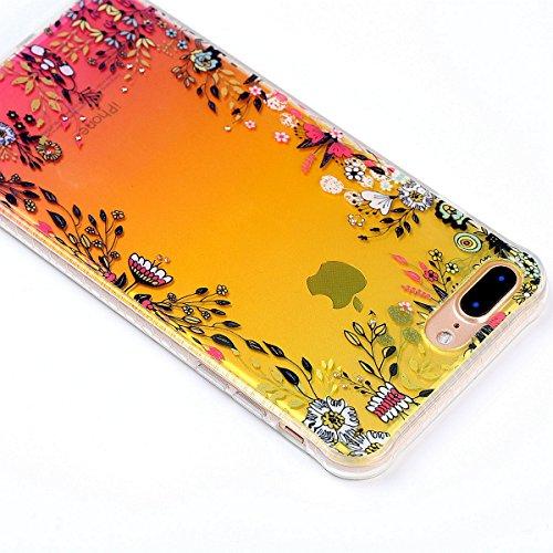 iPhone 7 Plus Custodia Diamante Bling,iPhone 7 Plus Cover in Silicone,Etsue 2017 Neo Disegni Donna Ragazza Cristallo Bling Scintillante Diamante Bella Elegante Romantico Fiori di Ciliegio Modello Tras Fiori