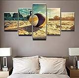 qucongni Cornice per Foto modulari Stampata in HD Decorazioni per pareti a Parete 5 Pezzi Pittura per pallavolo sulla Spiaggia Estate Mare Spiaggia Poster Pittura su Tela-(Framed)-50cm