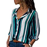 Damen Top Button-Down Langarmhemd Bluse Büro und Slim Bluse Bluse Hellgrün XL