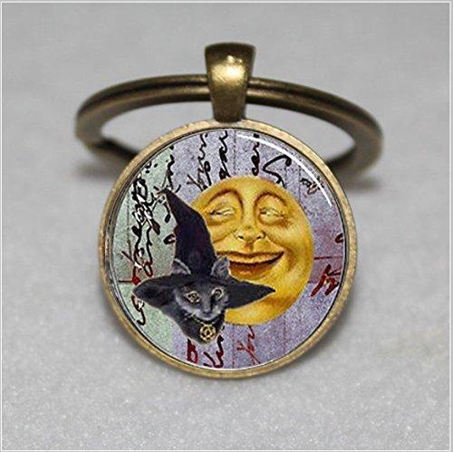 Halloween Katze schwarz mit Hexen Hut Schlüsselanhänger, Smiling Moon Glas Dome, Black Cat  Einzigartige Schlüsselanhänger Key Ring Geschenk  Everyday Schlüsselanhänger Key kette