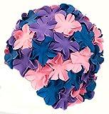 Aqua Speed BLOOM Damen Retro Badekappe (70er Jahre Blumen Latex Gummi), Farbe:Purple/pink/navy