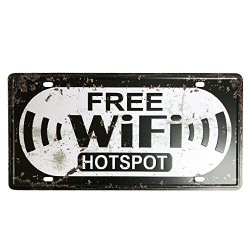 """Ipekoo Free WIFI HOTSPOT - Placa metálica con texto en inglés """"HOTSPOT Metal Sign Tin Sign Pub Póster Metal Envejecido Retro Vintage Wall Metal Tin Sign"""
