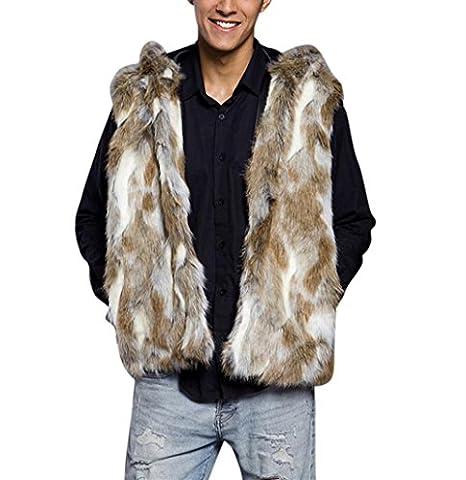 Herren Faux Pelz Kapuzenpullover Hirolan Mode Mit Kapuze Mantel Oben Weste Faux Pelzmantel Winterjacke Ärmellos Mantel Taschen (XXXL, Braun)