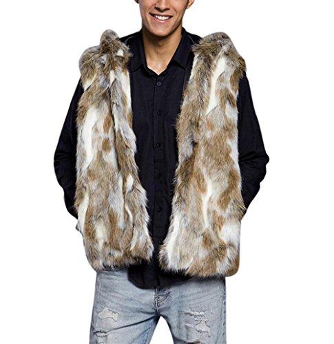 Herren Faux Pelz Kapuzenpullover Hirolan Mode Mit Kapuze Mantel Oben Weste Faux Pelzmantel Winterjacke Ärmellos Mantel Taschen (XXL, Braun) (Pullover Kapuzen Wrap)