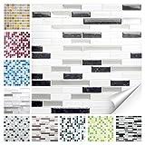Wandora 1 Set Fliesenaufkleber 27 x 25,4 cm Schwarz Metallic Weiß Silber Ziegel Design 36 I 3D Mosaik Fliesenfolie Küche Bad Aufkleber W1536
