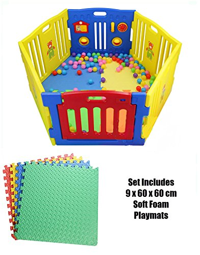 6-Panel Plastic Baby Playpen - Large Play Yard Perfect for Babies and Toddlers w/ 9 Soft Foam Non-Slip Playmats / International Delivery
