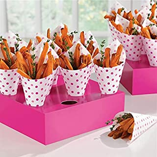 Amscan 149100 Pink Buffet Snack Cones with Tray