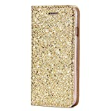 SainCat Custodia Galaxy S8, Custodia Ultra Slim Portafoglio Glitter Libro Bling Bling Shock-Absorption Pelle Flip Cover per Samsung Galaxy S8-Oro