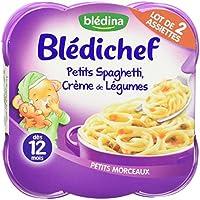 Blédina Blédichef Assiette Petits Spaghetti, Crème de Légumes dès 12 mois 2 x 230g - pack de 4 (8 assiettes au...