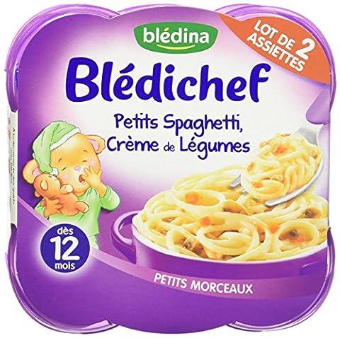 Blédina Blédichef Assiette Petits Spaghetti, Crème de Légumes dès 12 mois 2 x 230g - pack de 4 (8 assiettes au total)