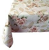 Wachstischdecke, Gartentischdecke, Küchentischdecke (100x140 cm, Beige mit Rosen)