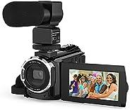 كاميرا فيديو 4 كيه كامكودر، اندوير 48 ميجابيكسل واي فاي ديجيتال مسجل كاميرا فيديو يوتيوب، تكبير رقمي 16X مع شا