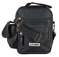 New Handbag Mens Ladies Work Travel Cross Body Shoulder 5 Zips Belt Loop Bag (Black)