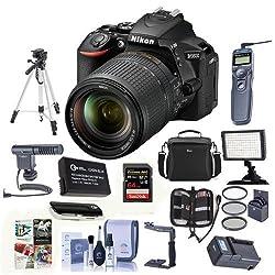 Nikon D5600 DSLR Camera Kit with AF-S DX NIKKOR 18-140mm f/3.5-5.6G ED VR Lens, Black - Bundle with Camera Case, 64GB SDXC Card, Video Light, Spare Battery, Tripod, Software Package and More