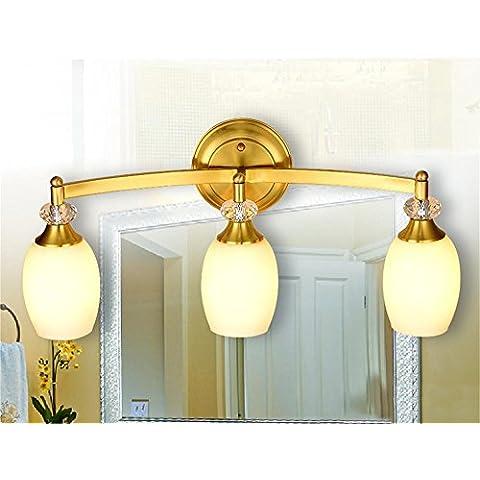 LLHZ-E27 American, doccia, WC, specchio, lampade in ottone, WC, specchio luci, impermeabile 60cm*22cm