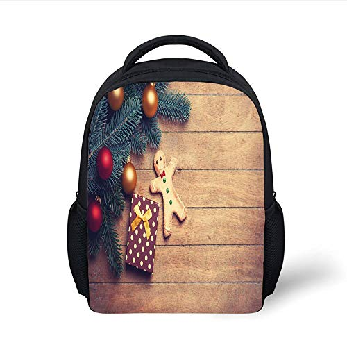 Kids School Backpack Gingerbread Man,Pine Branches Delicious Cookie and Present on Wood Planks,Light Brown Hunter Green Red Plain Bookbag Travel Daypack -