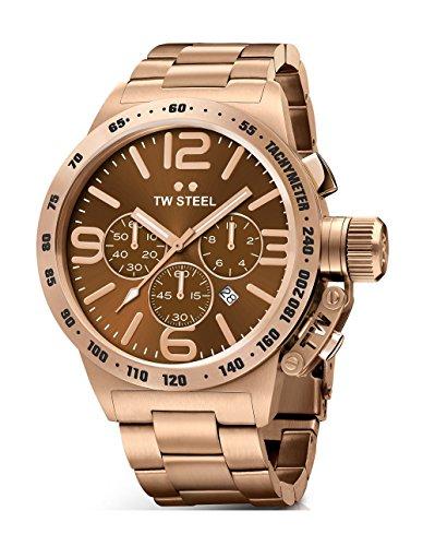 TW Steel Cb194en acier inoxydable pour homme Or rose Bracelet Band Cadran Marron montre