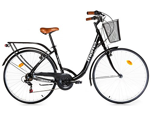 Moma – Bicicleta Paseo Citybike SHIMANO. Aluminio, 18 velocidades, ruedas de 28″